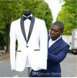 $enCountryForm.capitalKeyWord Australia - Fashionable Handsome White One Button Shawl Lapel (Jacket+Pants+Tie) Groom Tuxedos Groomsmen Best Man Suit Mens Wedding Suits Bridegroom