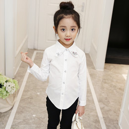 Girls Winter Shirts For Kids NZ - 2019 Full Sleeve Girls Shirts for School Regular O-neck Girl Blouses Solid Tops Teenager Kids Children Clothing Clothes bs073