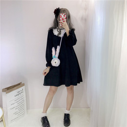 ff3f92718 Japanese Harajuku Women Gothic Black Lolita Cute Bow Lace Nun Cosplay  Costume Kawaii Anime Halloween Party Mini Slim Dress Q190523