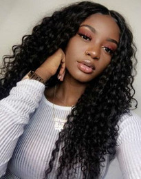kinky curly wig middle part Australia - hot hairstyle women's soft long afro kinky curly wigs African Ameri Simulation human hair kinky curly wig with middle part