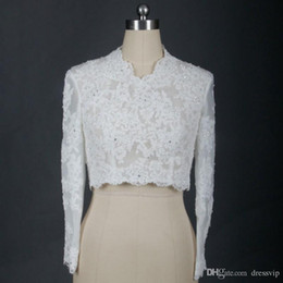 Boleros Champagne For Wedding Dresses Australia - 2019 Cheap Bridal Wraps Modest Alencon Lace Beads V Neck Sequins Wedding Bridal Bolero For Wedding Dresses Long Sleeve Lace Applique Jacket