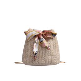 $enCountryForm.capitalKeyWord UK - Women Straw Joker Crossbody Bags Bow Decoration Modern Simple One Shoulder Drawstring Dumplings Bag Beach Bag Torebka