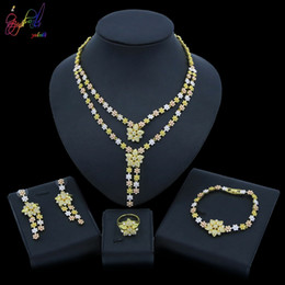 dubai gold pendant sets Australia - Yulaili 2019 New Dubai Gold Jewelry Sets Crystal Tricolor Flower Shape Pendant Necklace Earrings Bracelet Ring Wedding Jewellery Wholesale