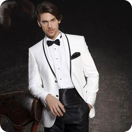 $enCountryForm.capitalKeyWord Australia - White Groom Tuxedo Men Suits for Wedding Men Blazer Two Buttons Black Shawl Lapel Costume Homme 2Piece Slim Terno Masculino Trajes de hombre