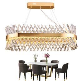 chandeliers remote control lights UK - LED chandelier crystal living room lighting American designer hotel rectangular dining room lamp luxury lighting fixture Fedex