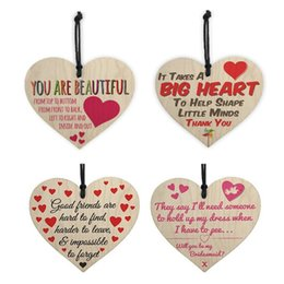 wooden gift tags wholesale NZ - 1Pc Wooden Thank You Hanging Gift Plaque Pendant Heart Shape Letter Friendship Wine Bottle Decor Pendant Tags