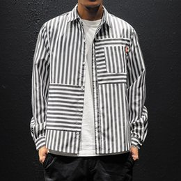 d5c3ec7a679cc2 Men's Shirt, Men's Long-sleeved Striped Shirt, Striped New Style, Casual  Fashion, Black Red Blue, Size M-5XL.