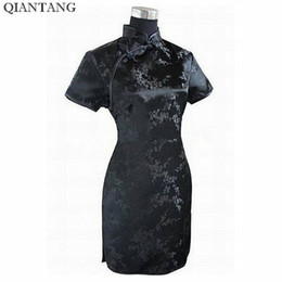 Wholesale traditional chinese shirt red for sale - Group buy Black Traditional Chinese Dress Mujer Vestido Women s Satin Qipao Mini Cheongsam Flower Size S M L Xl Xxl Xxxl xl xl xl J4039 Y19051001