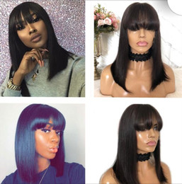 dark brown hair color celebrities Australia - Celebrity Wigs Lace Front Wig with Bang 10A Natural Color Chinese Virgin Human Hair Bang Full Lace Wig for Black Woman Free Shipping