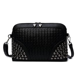 clutches for evenings UK - European and American Style Fashion Rivet Small Shoulder Bags for Women Shell Evening Clutch Messenger Bag Ladies Leather Crossbody Bag