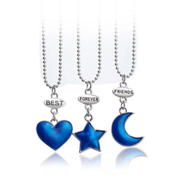 Wholesale 3Pcs set Best Friends Forever BFF Pendant Necklace Silver Love Heart Chain Necklaces Friendship Jewelry Gifts
