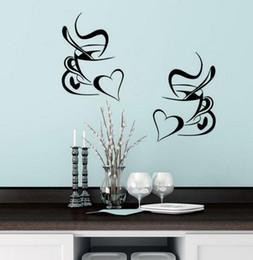 $enCountryForm.capitalKeyWord Australia - kitchen wall sticker coffee 2pcs coffee cup with heart kitchen vinyl wall art decor decal stickers 30x20cm Mural