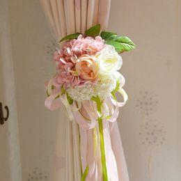 $enCountryForm.capitalKeyWord Australia - 2019 Rose Curtain Tie Clip-on Backs Holdback Tieback Curtains Holder Panel Cloth 16cm Artificial Flower for Wedding