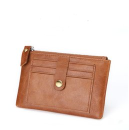 ladies slim wallets NZ - Slim men's clutch bag wallet wallet credit card holder thin wallet bank card package coin handbag business lady leather ID card package
