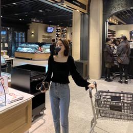 South Korea Velvet Australia - Women Blouses Shirt South Korea Locks The Bone Beautiful Early Spring Velvet Square-collared Blouse for Exquisite Girl