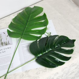Green Plastic Trees Australia - Home Decoration Large Artificial Plants Fake Monstera Palm Tree Leaves Green Plastic Leaf for Photography Props