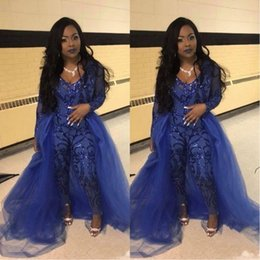 Blue Plus Size Jumpsuit Australia - Sexy Royal Blue Jumpsuits Prom Dresses With Overskirts V Neck Long Sleeve Sequined Evening Gowns Plus Size African Pageant Pants Party Wear
