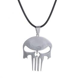 $enCountryForm.capitalKeyWord Australia - Skull Pendent Necklace Men Jewelry Charm Women Superhero Punishment Skull Dark Knight Stainless Steel Necklace