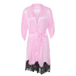 Discount hot lingerie kimono - KLV #Z5 NEW HOT FASHION 2019 Free Ship Women Sexy Silk Kimono Dressing Gown Bath Robe Lace Splice Lingerie Nightdress