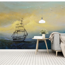 sailing ocean painting NZ - mural papel de parede 3d Custom wallpaper Scandinavian retro wind and waves breaking the ocean sailing oil painting wall