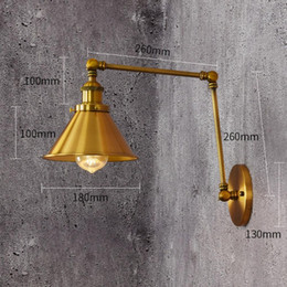 sconce bronze Australia - 110V 220V Loft Style vintage E27Wall Sconce Swing Arm Bedside Lamp Modern Brass Bronze plated Wall Light Fixtures Iron lampshade