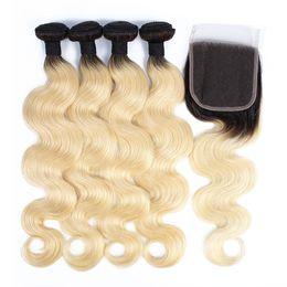 Virgin russian blonde hair online shopping - KISSHAIR T1B613 body wave hair bundles with closure blonde color with dark roots hair extension virgin European Brazilian hair