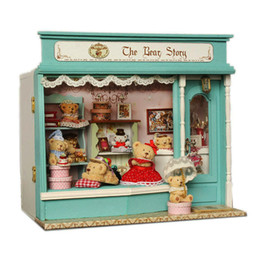 Discount hand puppets for kids - DIY Doll House Miniature Wooden DollHouse The Bear Story With Furniture LED Light Toys Handmade Birthday Gifts For Kids