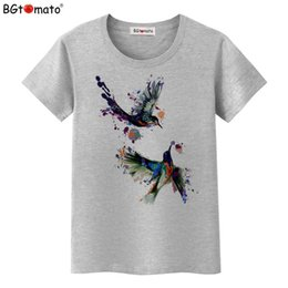 Beautiful T Shirts NZ - Bgtomato Hot Sale Summer Beautiful Birds Top Tees New T Shirt Women Short Sleeve Casual Clothes Fashion T-shirt C19040301