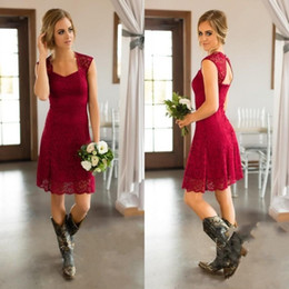 Short ruffled brideSmaid dreSSeS online shopping - Dare Red Short Country Style Full Lace Bridesmaid Dresses Long Cap Sleeves Knee Length Maid of Honor Gowns Cheap Wedding Guest Dress