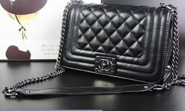 Venta al por mayor de Línea geométrica de las mujeres Bolso Slant Bag Cuero clásico Negro Oro Plata Cadena Bolsos Bolsos Bolsos de hombro Bolsos de asas Bolso Messenger