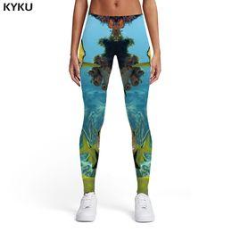 $enCountryForm.capitalKeyWord Australia - KYKU Fish Leggings Women Animal Printed pants Tropical Ladies Fishinger 3d Print Tracksuits Trousers Womens Leggings Pants