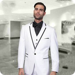 royal white suits Canada - White Groom Tuxedo Men Suits Pants Prom Party Slim Fit Royal Blue Terno Masculino Custom Homme Red Best Man Blazer 3Piece(Coat+Trouser+Vest)