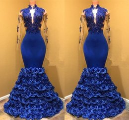 $enCountryForm.capitalKeyWord Canada - High Neck Royal Blue Mermaid Prom Dresses With Seer Long Sleeves Appliques Rose Flowers Formal Evening Party Gowns