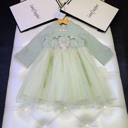 $enCountryForm.capitalKeyWord Australia - Girls dress kids designer clothing autumn classical Chinese style dress stitching fabric skirt fluffy fashion charm elegant dress
