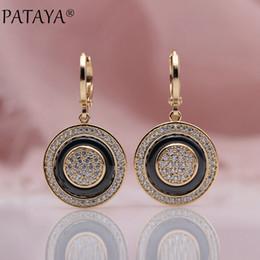 $enCountryForm.capitalKeyWord Australia - Pataya New Round Micro Wax Inlay Natural Zircon Black Ceramic Long Dangle Earrings 585 Rose Gold Women Wedding Fine Cute Jewelry Y19062901