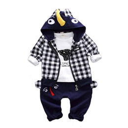 Baby Boy Cartoon Jackets Australia - 2019New Spring Children Clothing Baby Boy Girl Cotton Cartoon Kid Zipper Hoodies Jacket T-shirt Pants 3Pcs Set Infant Tracksuits