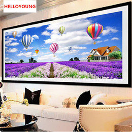 hot paintings Australia - 5D DIY Round Full Diamonds Embroidery Diamond Mosaic Lavender And Hot-air Balloon Diamond Painting Cross Stitch Home Decor 165