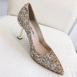 Day Wedding Dresses Australia - 2019 summer new top wedding shoes bride and lady Valentines Day gift new fashion sexy sequins silk dress shoes high heels shallow qy