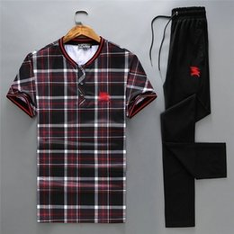 $enCountryForm.capitalKeyWord NZ - priceNew listing summer recommended men's short-sleeved head sports set plaid printing cotton material comfortable and breathable running