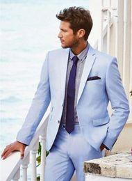 $enCountryForm.capitalKeyWord Australia - Wholesale - Men's Tux 2019 Coat Pant Tux Sky Blue Men Wedding Suits Slim Fit 2 Piece Double Breasted Tuxedos Groom Formal Prom Blazer(Jacket