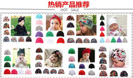 $enCountryForm.capitalKeyWord Australia - hot sales Soft Europe and the United States new baby monochrome bow children's hat baby sticky beads head cap factory wholesale 5 pcs