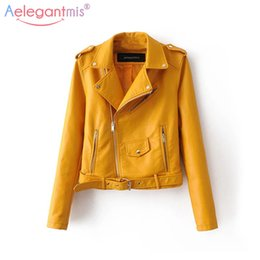 yellow pu jacket NZ - Aelegantmis Autumn New Short Faux Soft Leather Jacket Women Fashion Zipper Motorcycle PU Leather Jacket Ladies Basic Street Coat Y190905