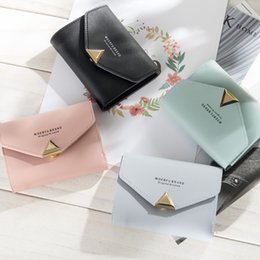 wallet brands for ladies 2019 - Women Wallet Short Leather Ladies Metal Designer Wallets for Women Mini Candy Color Clutch Brand Female Purse Coin Card