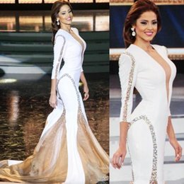 Miss universe evening dresses online shopping - Miss Universe Evening Dresses Mermaid Long Sleeves V Neck Beaded Sequins Ruffles Satin Women Pageant Party Gowns Formal Prom Dress