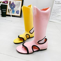 Flat Knit Socks Australia - Summer New Fashion Yellow Knit Sandals 2019 Hot Sock Sandals Ladies Flat Rome Style Mid-Calf Cut Out