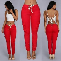$enCountryForm.capitalKeyWord Australia - Women Fashion Style Pants Ladies Trousers New Arrivals Slim White Stretch Drawstring Trousers Green Red Sexy Party Club Pockets Pants