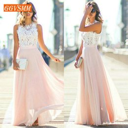 Yellow Evening Gown S Australia - Stylish Pink Long Dresses Cheap Prom Dress Women Real Photos O-neck Chiffon Lace A-line Banquet Evening Party Gown New Q190530