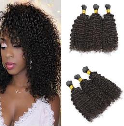 $enCountryForm.capitalKeyWord NZ - Mongolian Afro Kinky Curly human hair Braiding Hair Bulk no Attachment grade 8a unprocessed Natural Black hair