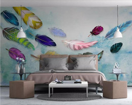 feather wallpaper home decor NZ - Custom wallpaper 3d murals American minimalist fashion colorful hand-painted feathers texture bedroom wall papers home decor 3d