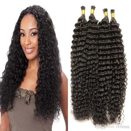 curly hair tips Canada - A keratin stick tip human hair extensions I Tip hair extensions Natural Color unprocessed brazilian kinky curly hair 200g 1g strand 200